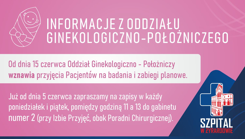 Informacje z oddziału ginekologiczno-położniczego