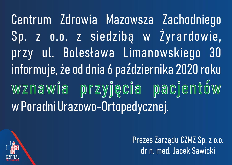 Komunikat wznowienie przyjęć pacjentów  w Poradni Urazowo-Ortopedycznej.