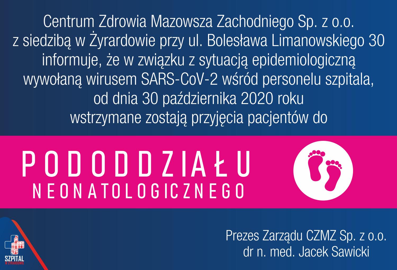 Wstrzymanie przyjęć Pacjentów do Pododdziału Neonatologicznego