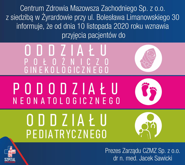 Wznowienie przyjęć pacjentów do Oddziału Pediatrycznego, Neonatologicznego oraz Położniczo-Ginekologicznego