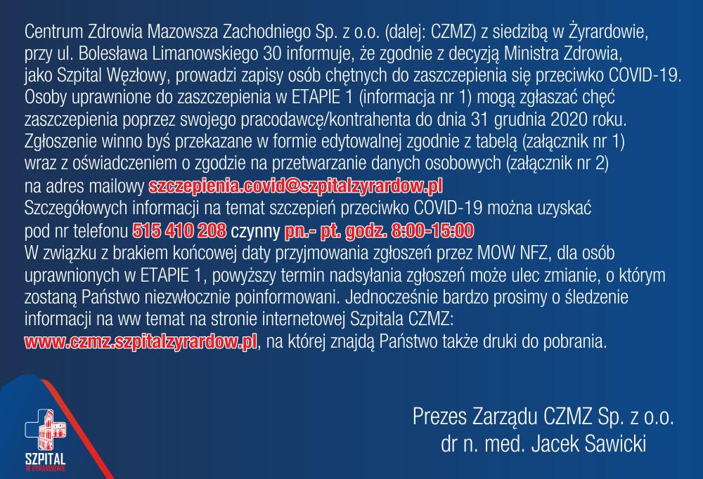 Centrum Zdrowia Mazowsza Zachodniego prowadzi zapisy osób chętnych do zaszczepienia się przeciwko COVID-19.
