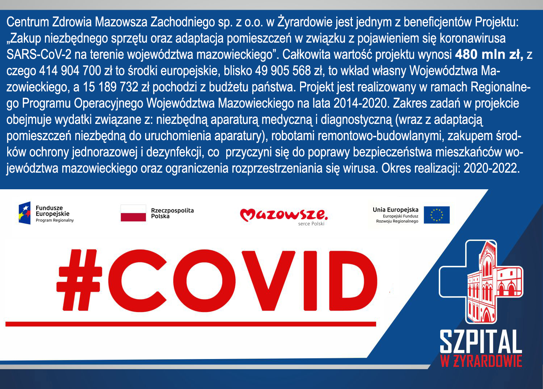 """CZMZ beneficjentem projektu """"Zakup niezbędnego sprzętu oraz adaptacja pomieszczeń w związku z pojawieniem się koronawirusa SARS-CoV-2 na terenie województwa mazowieckiego"""" ."""
